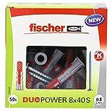Fischer 535460 DUOPOWER 8 x 40 S, Universaldübel mit Schraube,50 Stück