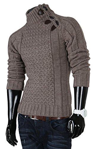 R-NEAL Herren Grobstrick Pullover Größe S-XXL Beige