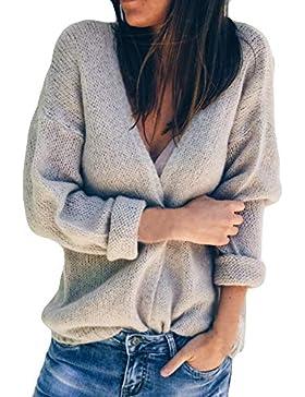 ZORE Mujer Camisa de Invierno Manga Larga Suelta suéter sólido Tops Women Sweater