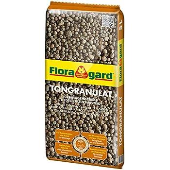 Floragard Blähton Tongranulat zur Drainage 5 L • Hydrokultursubstrat • für Pflanzkästen, Kübel oder Töpfe • Drainagematerial