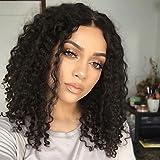 Femme Brésiliens Cheveux humains Ouverte 130% Densité Coupe Dégradée Avec Mèches Avant Très Frisé Perruque Noir de jais Noir Naturel , 130%