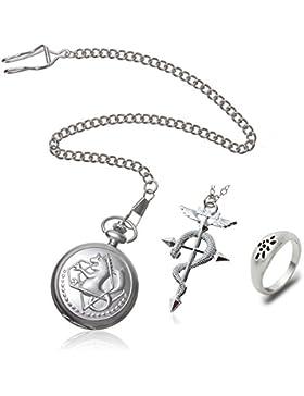 R-timer Fullmetal Alchemist cosplay Edward Elric Taschenuhr Kreuz Schlange-Halskette und Ring im Kasten 1#
