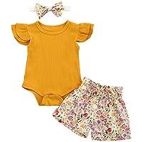 Haokaini Bebé Ropa de Verano Trajes Mameluco sin Mangas + Pantalones Cortos Florales + Diadema