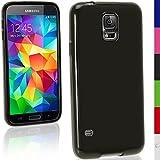 igadgitz Sólido Negro Funda Brillo TPU Gel Para Samsung Galaxy S5 SV MINI SM-G800F + Protector Pantalla