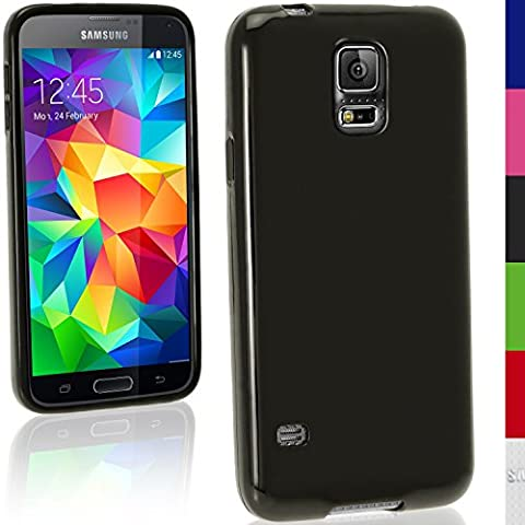 igadgitz Sólido Negro Funda Brillo TPU Gel Para Samsung Galaxy S5 SV MINI SM-G800F + Protector
