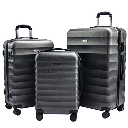 Carryone set valigie rigido trolley bagaglio a mano con 4 rotelle girevole, rigidi e leggeri valigia da viaggio set da 3 pezzi 55cm, 64cm, 74cm-td2(grigio)