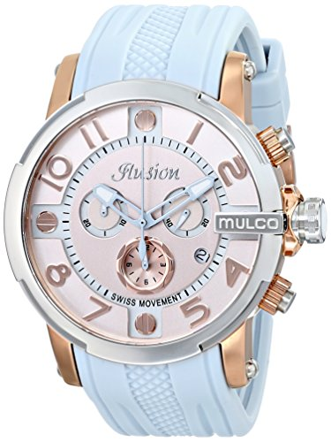 Mulco Women's 45mm Blue Silicone Band Steel Case Swiss Quartz Gold-Tone Dial Watch MW3-12239-413