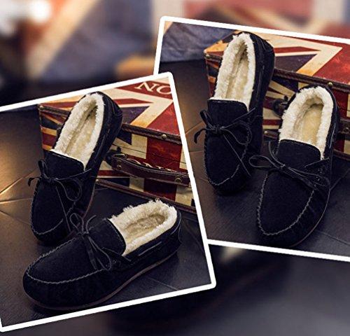 Dooxi Hommes Hiver Chaud Doublure en Fausse Fourrure Chaussures de Bateau Décontractée Bowknot Loafer Chaussures Bottes De Neige Noir