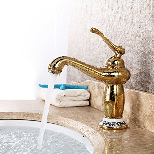 WYMBS Accessori per mobili creativo decorazione bagno Rubinetto di rame europea oro bronzo placcato oro lavabo