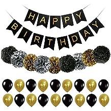Artículos Decorativos de Fiesta Feliz Cumpleaños con Papel de Oro Negro Pom Poms y Globos