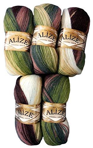 5 x 100 g Alize Strickwolle Farbverlauf braun oliv grün taupe creme Nr. 1893 zum Stricken und Häkeln, 500 Gramm Wolle mit Mohair