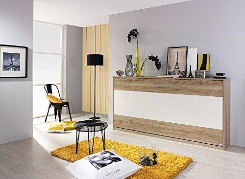 Schrankbett 90x200 in Weiß und Grau, Wandbett inklusive Lattenrost ist die perfekte Lösung für gesunden Schlaf in kleinen Räumen