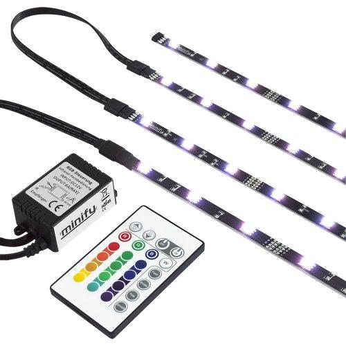 RGB TV HINTERGRUNDBELEUCHTUNG FÜR 24-42 ZOLL (61-107cm) - LED LEISTEN - STRIP Set Band Leiste Lichtleiste Licht Backlight - KOMPLETTSET INKL. FERNBEDIENUNG UND NETZTEIL - GR. M