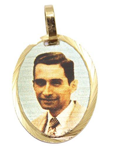 Diamantados of Florida Beato Charlie Puerto Rico Medal 18k Gold Plated with 18 Inch Chain Beato Carlos Manuel Rodriguez