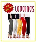 Combo of-5 Ultra Soft Cotton/Lycra Churidar Basic Solid Regular, Best Seller Leggings for Womens and Girl- Free Sizes Fit to waist between 26 Inch-34 Inch, GREY-WHITE-YELLOW-RED-BLACK