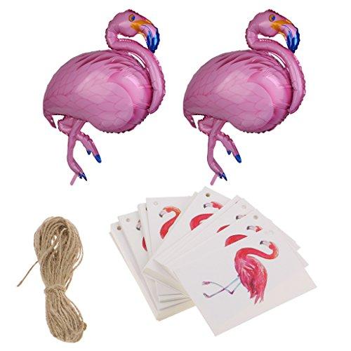 Flamingo Heliumballons und 10x Geschenk Anhänger Papieranhänger Tags Labels Hochzeit Geburtstag Party Dekor (Labels Für Baby-dusche)