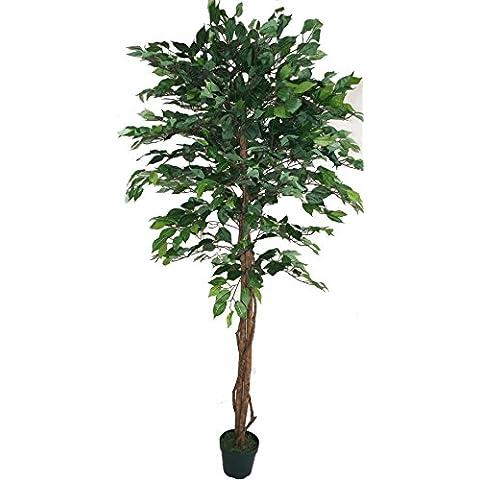 Homescapes árbol Ficus Topiary artificial, hojas verdes, 120 cm, en maceta