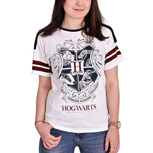 Harry Potter Damen T-Shirt Hogwarts Wappen Baumwolle weiß - XL