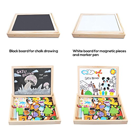 Image of Magnetic Dry Erase Board Puzzles Games 100 Pieces Wooden Toy, SATUBROWN Double Face Jigsaw& Drawing Easel Chalkboard Popular Educational Learning Toys for Kids