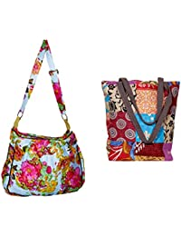 Indistar Combo Pack Of 1 Cotton Kantha Tote Bag And 1 Cotton Shopper Bag (Pack Of 2) - B076T94P2B