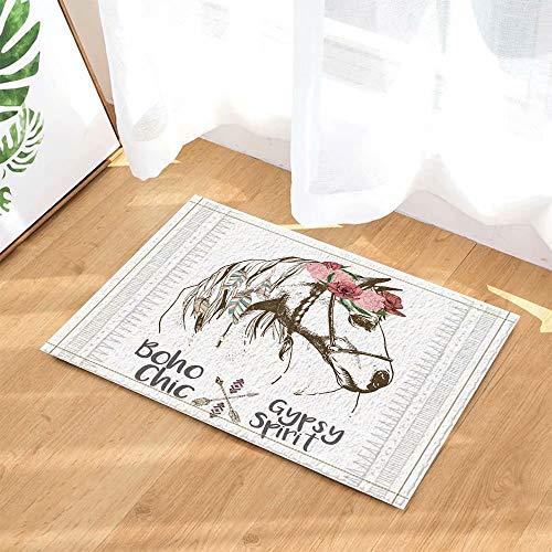FEIYANG Böhmisches Dekor Boho Chick Style Pferd mit Blumen-Federkranz und Pfeil-Badteppichen Rutschfeste Fußmatte Fußbodeneingänge Indoor-Haustürmatte Kinder Badematte 60X40CM Badzubehör