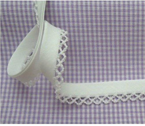 5m Schrägband mit Häkelborte uni weiß 2 Meterware (Rick-rack)