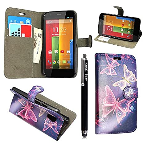 KAMAL STAR® Motorola Phones Handsets Premium PU Leather Card Magnetic Flip Case Cover + Stylus (Moto E2 Moto E (2nd Gen), Blue Butterfly