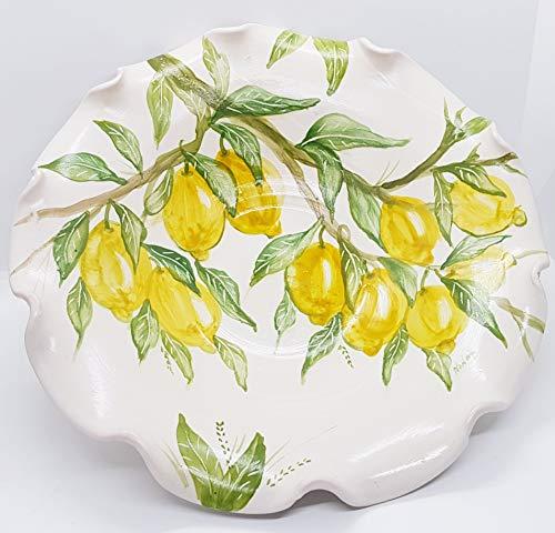 Centrotavola orlato linea limoni realizzato e dipinto a mano le ceramiche del castello nina palomba made in italy pezzo unico dimensioni 34,5 x 34,5 x 6 centimetri