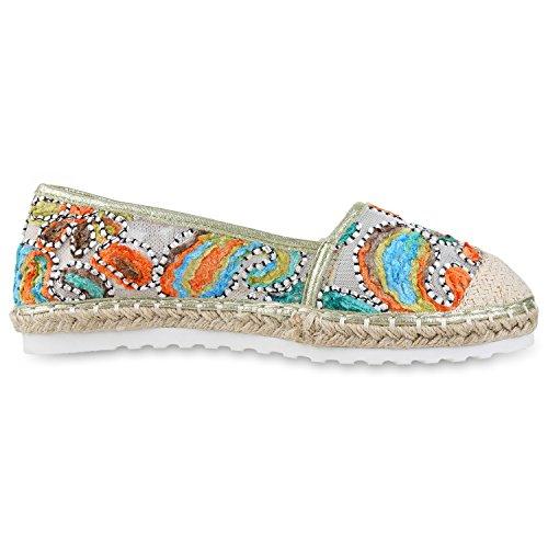 Damen Espadrilles Metallic Slipper Bast Profilsohle Flats Schuhe Hellgrün Mehrfarbig
