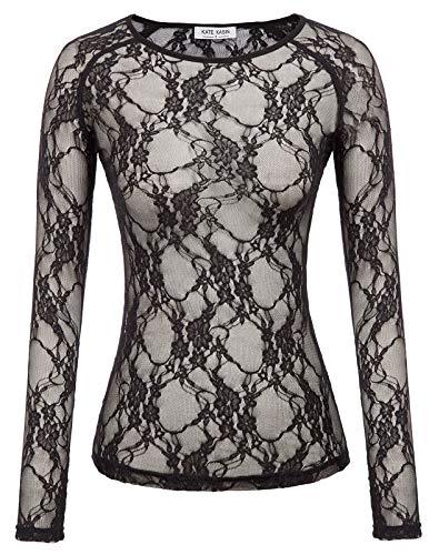 Floral-design-t-shirt (Damen Vintage Floral Unterwäsche T-Shirt Langarm Netting Top Unterhemd Schwarz Lace XXX-Large)