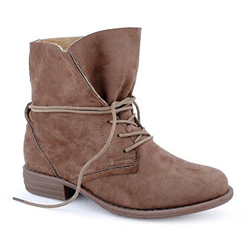 Damen Stiefeletten Stiefel Blockabsatz Schnür Biker Boots Freizeit Schuhe Khaki-2/ungefüttert
