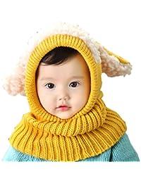 98a27ca38fa Elonglin Unisexe Bébé Enfant Chapeau Calotte Bonnet Cagoule de Masque  Tricoté Oreilles de Chien Cache-