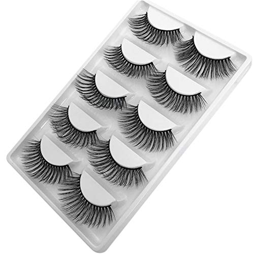SMILEQ 5 Paar Luxus 3D Falsche Wimpern Flauschigen Streifen Wimpern Lange Natürliche Partei (Schwarz)