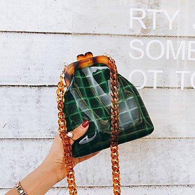 SUNNY KEY-Borsa a tracolla @ Donna Borsa a tracolla PVC Per tutte le stagioni Casual Baguette Senza cerniera Verde Traslucido , translucent translucent