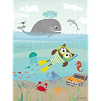 Happy Spaces Kids Wall Art - Lienzo decorativo (30 x 40 x 2 cm), diseño de animales marinos y búho submarinista de Elisa Sheehan