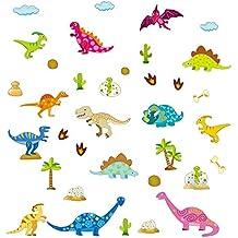 ufengke Pegatinas de Pared Dibujos Animados Dinosaurio Vinilos Adhesivos Pared Mundo Jurasico Decorativos para Habitación Infantiles