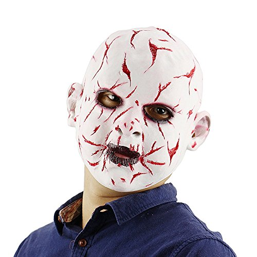 HBWJSH Halloween Bloody Gesicht Ghost Face Doll Maske Latex Horror Maske Kopfbedeckungen