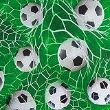 SCHÖNER LEBEN. Digitaldruck Baumwolljersey Jersey Stoff Fußball Netz grün weiß 1,55m