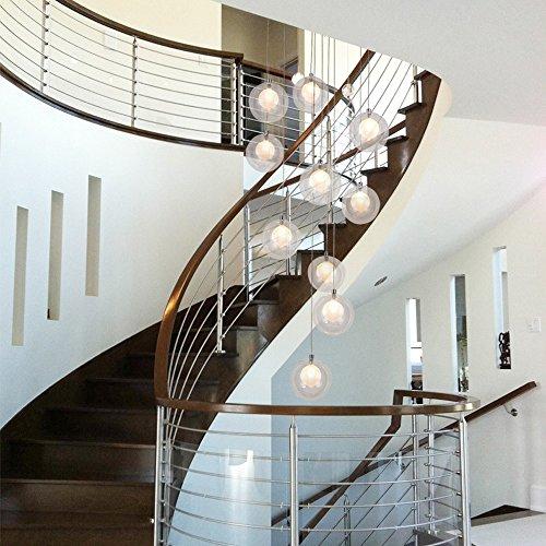 Escalera de arañas de cristal bola de múltiples luces moderna sala de estar creativa colgante de luz villa lámpara de techo dúplex apartamento escaleras de caracol larga araña, 40 * 200 cm