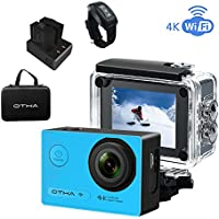 OTHA Action Camera Underwater 4K Camera Wifi 16MP 170 Degree Android HD 1080p Sports Cam for Diving Skiing Snowboarding, Night Vision, Wireless Remote Control, 2 Rechargeable Batteries Included(Blue)