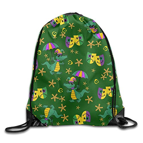 uykjuykj Tunnelzug Rucksäcke, Mardi Gras Kawaii Boys Drawstring Bag Waterproof String Backpack Volleyball Mardi Gras 36 Lightweight Unique 17x14 IN