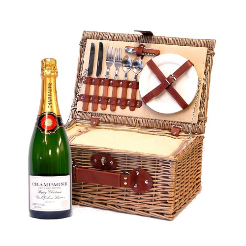 2 Person Luxury Cream Lined Chiller Picnic Basket with Personalised Bottle of Champagne and Accessories - Gift ideas for Birthday, Anniversary & Congratulations presents