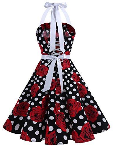 Dresstells Neckholder 1950er Rockabilly Audrey Hepburn Vintage Kleid Partykleid Black Red Rose