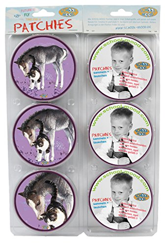 SCHOOL-MOOD Patchies, 6-teiliges Patchy Set - Fohlen & Katze Beige Rot 608
