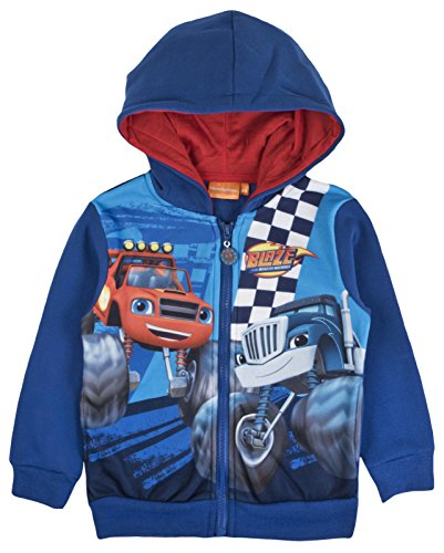 Blaze and the monster machines -  felpa con cappuccio - manica lunga - ragazzo blue 8 anni