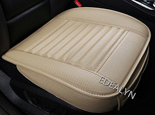 EDEALYN PU-Leder Bambus-Kohle Einzelsitz ohne Rückenlehne Auto-Sitzkissen Autositzabdeckung Tan Bambus