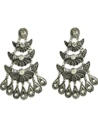 Afghani Oxidised Silver Party Wear Ear Ring By AyA Fashion For Girls And Women/ Dangler And Drop