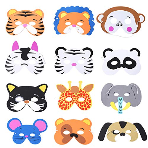 2 stücke Cartoon Masken Dschungel Tier Schaum Gesichtsmasken Halloween Masken Dress-Up Bühnenauftritte Thema Party Craft Kits für Kinder ()