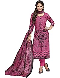 Baalar Women's Cotton Unstitched Dress Material (2017_Magenta_Free Size By Onkar Trading)
