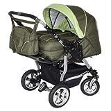 Adbor Duo 3in1 Zwillingskinderwagen mit Babyschalen und 2 Isofix Stationen - silbernes Gestell, Zwillingswagen, Zwillingsbuggy Farbe Nr. 04s olivegrün/grün